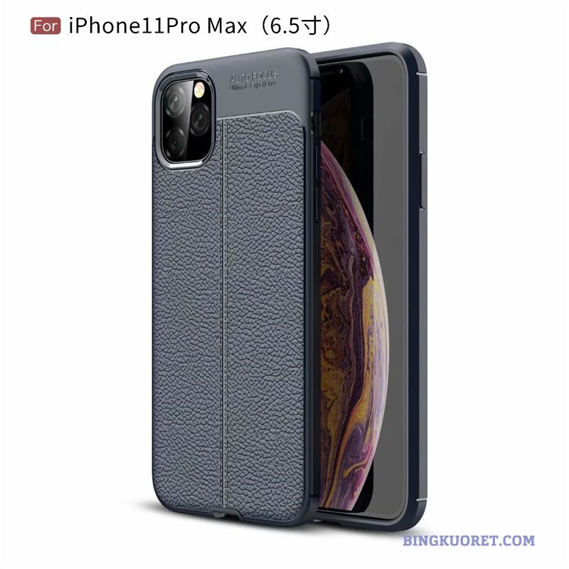 Kuori iPhone 11 Pro Max All Inclusive Pehmeä Neste Pesty Suede Sininen Kotelo