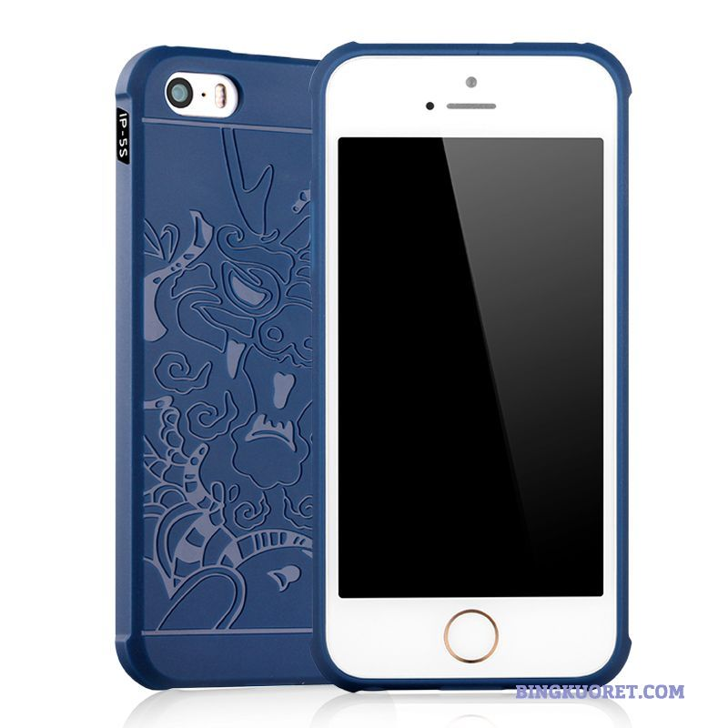 Kuori iPhone 5/5s Sininen Kotelo Pehmeä Neste All Inclusive Pesty Suede